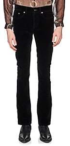 Saint Laurent Men's Cotton-Blend Velvet Flared Jeans-Black