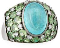Alexander Laut Paraiba Tourmaline Cabochon & Green Tsavorite Ring