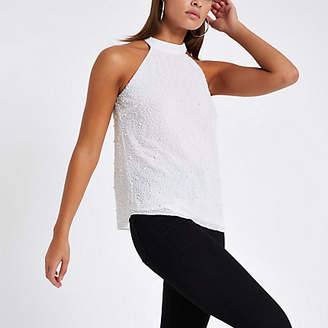 River Island Womens White pearl embellished halter neck top