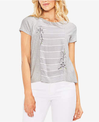 Vince Camuto Striped Embroidered T-Shirt