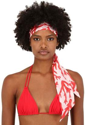 Alicia Swim Coral Print Silk & Cotton Headband