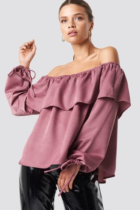Glamorous Off Shoulder Wide Sleeve Top Raspberry