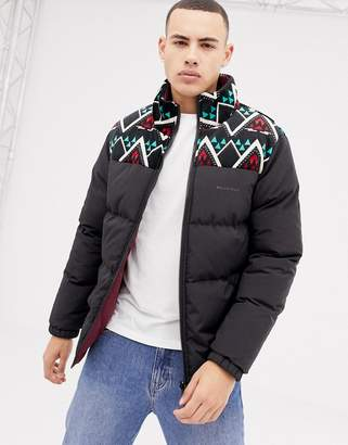 Bellfield reversible puffer jacket with contrast panelling in black
