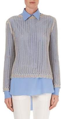 Victoria Beckham Open-Weave Crewneck Sweater