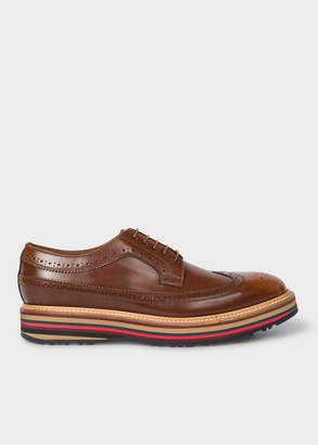 Paul Smith Men's Tan Leather 'Grand' Brogues With Striped Soles
