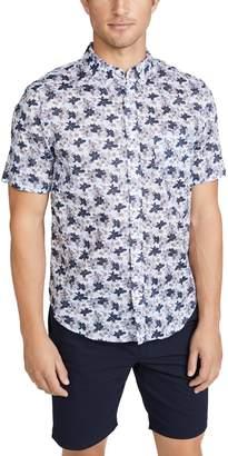 Club Monaco Short Sleeve Button Down Baja Blossom Shirt