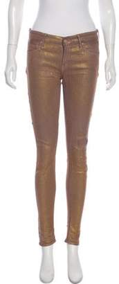 Mother Mid-Rise Skinny Pants Gold Mid-Rise Skinny Pants