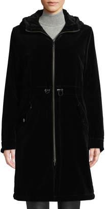 Jane Post Long Velvet Parka Coat w/ Hood