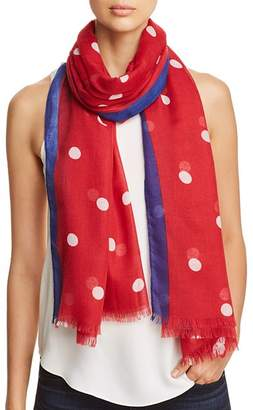 Aqua Border-Stripe Polka Dot Scarf - 100% Exclusive