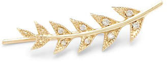 Mizuki Sea Of Beauty Diamond & 14K Leaf Earring