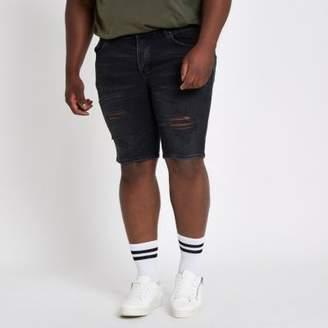 River Island Mens Big and Tall black wash skinny denim shorts