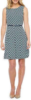 Liz Claiborne Sleeveless Puff Print Fit & Flare Dress