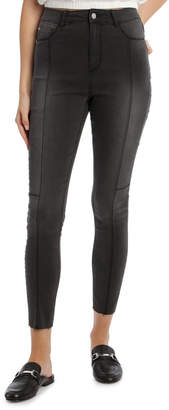 Miss Shop Riley Super High Waist Skinny Jean - Worn Black Seamed