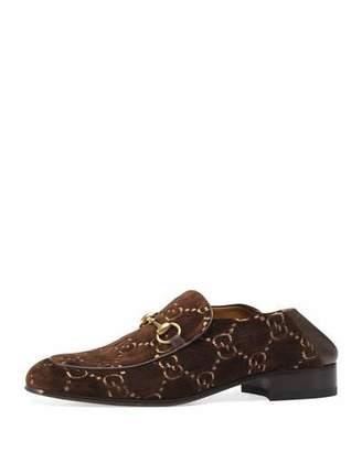 Gucci Mister GG Velvet Fold-Down Loafer