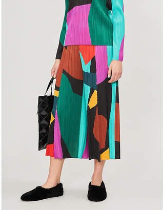 Pleats Please Issey Miyake Clumpy Colour wide-leg cropped pleated trousers