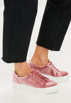 Missguided Pink Velvet Platform Sneakers