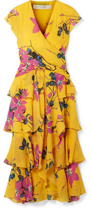 Etro Ruffled Floral-print Silk Crepe De Chine Midi Dress - Mustard