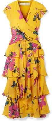 Etro Ruffled Floral-print Silk Crepe De Chine Midi Dress - Mustard