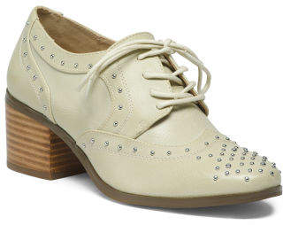 Stacked Heel Studded Oxfords