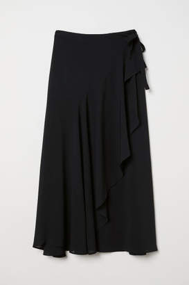H&M Wrap-front Skirt - Black