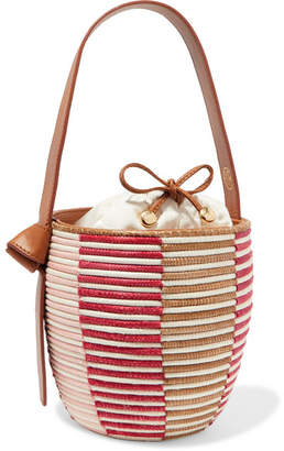 Cesta Collective - Lunchpail Leather-trimmed Woven Sisal Bucket Bag - Red
