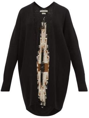 Queene and Belle Sonora Geometric Intarsia Cashmere Cardigan - Womens - Black Multi