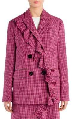 Peserico Plaid Ruffled Wool Jacket