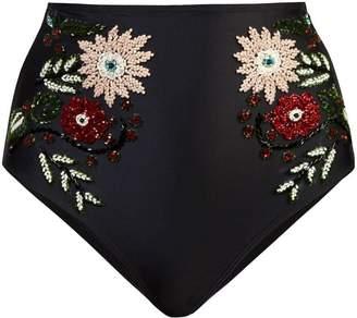 Patbo hand-beaded floral bikini bottom