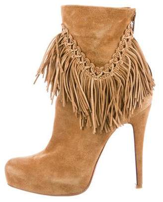 Christian Louboutin Fringe-Trimmed Suede Ankle Boots