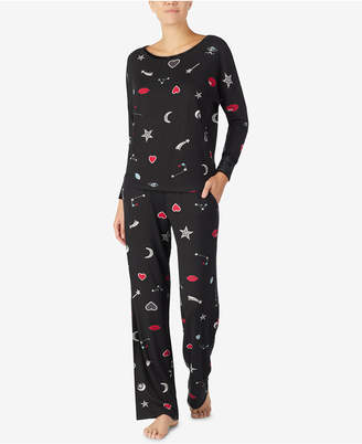 Betsey Johnson Velvet-Trimmed Printed Pajama Set