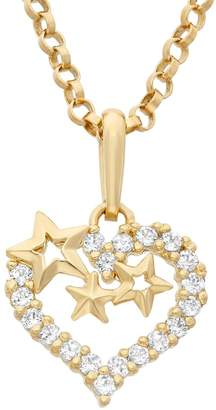Junior Jewels Cubic Zirconia 14k Gold Cutout Heart & Star Pendant Necklace
