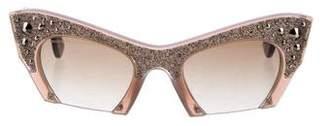 Miu Miu Embellished Glitter Sunglasses