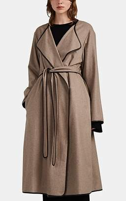 The Row Women's Helga Leather-Trimmed Cashmere Wrap Coat - Gray