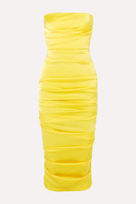 Alex Perry Ace Strapless Ruched Satin Dress - Yellow