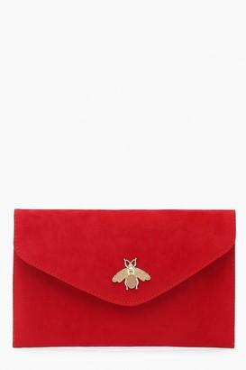 boohoo Metal Bug Envelop Clutch Bag