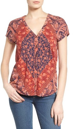 Women's Lucky Brand Jersey Button Front Tee $49.50 thestylecure.com