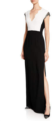Escada Scalloped V-Neck Jeweled Cap-Sleeve Gown