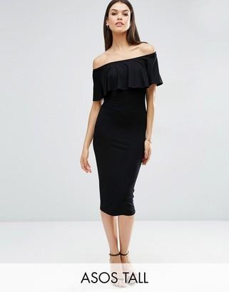 ASOS Tall ASOS TALL Ruffle Off Shoulder Bardot Pencil Midi Dress $34 thestylecure.com
