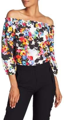 Nicole Miller New York Off-the-Shoulder Floral Print Blouse