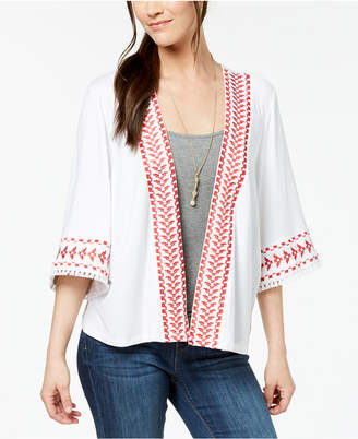 Style&Co. Style & Co Petite Embroidered Fringed Kimono Jacket, Created for Macy's