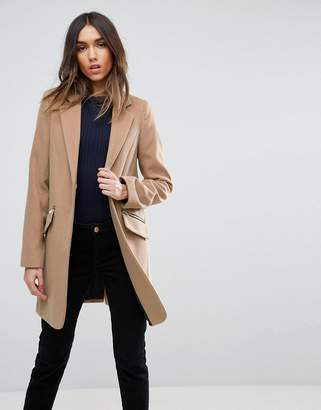 Asos DESIGN Slim Boyfriend Coat with Zip Pocket