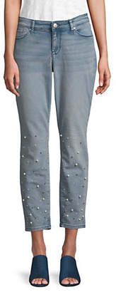 Style&Co. STYLE & CO. Faux Pearl-Trimmed Ankle Jeans