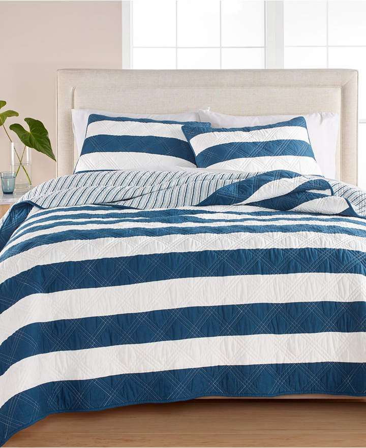 Martha Stewart Collection Cabana Stripe 100% Cotton Twin Quilt, Created for Macy's