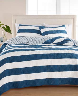 Martha Stewart Collection Cabana Stripe 100% Cotton King Quilt