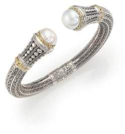 Konstantino Classic 10MM White Mabe Pearl, 18K Yellow Gold& Sterling Silver Cuff Bracelet