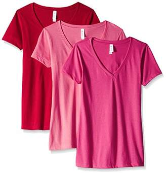 Blend of America Clementine Apparel Women's 3-Pack Short Sleeve T Shirt Easy Tag V Neck Soft Cotton Undershirts (1540)