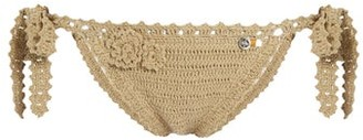 She Made Me Jannah Tie Side Crochet Bikini Briefs - Womens - Tan
