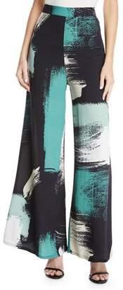 Rachel Pally Lewis Printed High-Waist Wide-Leg Pants, Plus Size