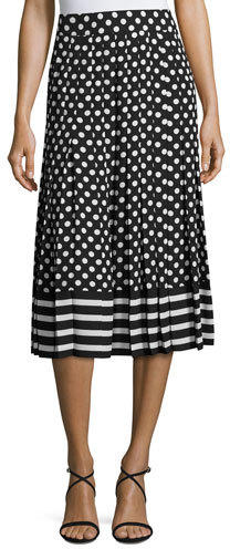 Kate Spade Kate Spade New York Dotted & Striped Pleated Midi Skirt, Black/Cream