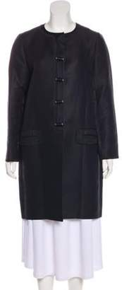Chloé Woven Knee-Length Coat Blue Chloé Woven Knee-Length Coat